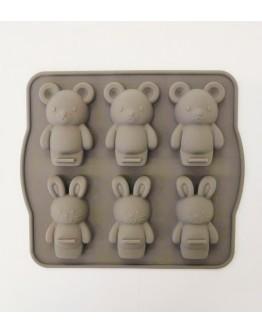 兔兔&熊熊 六入矽膠模具