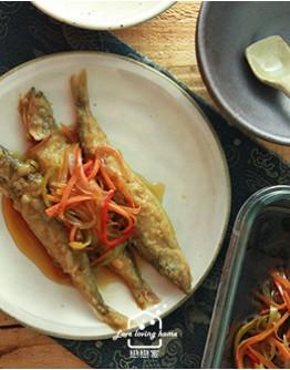日式料理2:蔥鹽叉燒肉蓋飯/柳葉魚南蠻漬/野菜天婦羅及沾醬(加碼:櫻花樹)/紫蘇蘋果