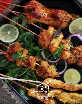節令料理系列6:炙燒蝦文旦沙拉+坦都里烤雞+香煎豬里肌佐沙嗲醬+ 冰皮水果夾心雪大福