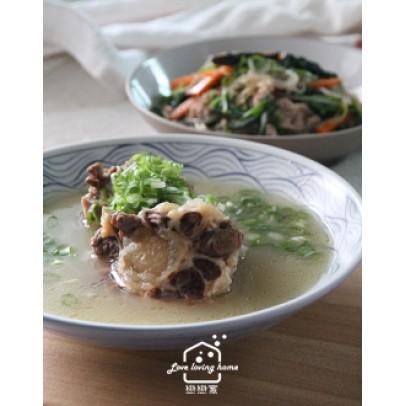 韓式料理1:牛尾湯泡飯/現醃章魚水果泡菜/韓式雜菜(同場加碼變化韓式紫菜飯卷)