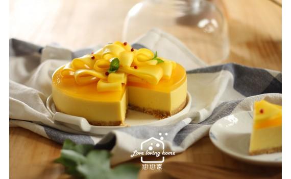 很家常的做法,但無比精緻美麗:免烤箱--緞帶盒芒果慕斯蛋糕