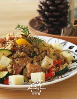 料理的基礎8:咖啡館風料理--檸檬烤春雞+羅宋湯+堅果培根蔬菜庫斯庫斯+優格夾心雲朵蛋糕