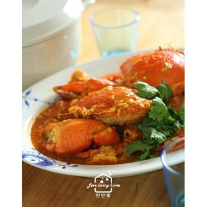 11/17  (二)星馬料理4:辣椒螃蟹+星洲炒粿條+倫珀香料雞肉糯米捲+斑蘭蛋糕