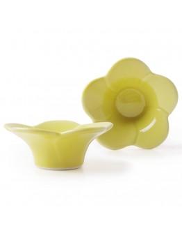 日本有田燒花型蛋杯-黃